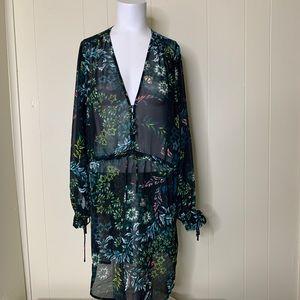 H&M Floral Black Sheer Summer Cover Up Dress 8